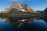 Tennestind mountain peak and coastal buildings reflect in Reinefjord, Moskenesøy, Lofoten Islands, Norway