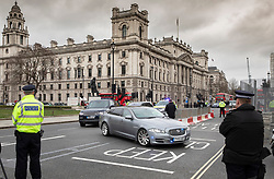 © Licensed to London News Pictures. 18/03/2020. London, UK. Prime Minister Boris Johnson's convoy passes through near empty streets as he heads to Parliament for Question Time. The government has announced £350 billion in loans will be available for UK businesses as the virus takes hold.  Photo credit: Peter Macdiarmid/LNP