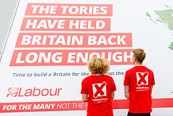 © Licensed to London News Pictures. 11/05/2017. London, UK. Labour supporters take part at unveiling of Labour party's new election campaign poster in South Bank, London after Labour leader Jeremy Corbyn pulled out of the event following the manifesto leak on 11 May 2017. Photo credit: Tolga Akmen/LNP