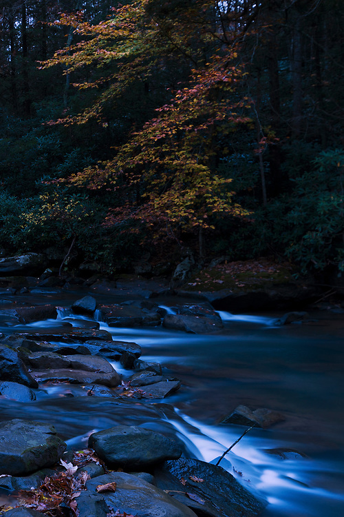 Twilight over Paint Creek and Fall foliage in West Virginia.