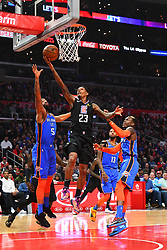 March 8, 2019 - Los Angeles, CA, U.S. - LOS ANGELES, CA - MARCH 08: Los Angeles Clippers Guard Lou Williams (23) drives to the basket during a NBA game between the Oklahoma City Thunder and the Los Angeles Clippers on March 8, 2019 at STAPLES Center in Los Angeles, CA. (Photo by Brian Rothmuller/Icon Sportswire) (Credit Image: © Brian Rothmuller/Icon SMI via ZUMA Press)