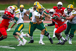 NORMAL, IL - October 05: Christian Watson finds a lane through the scrimmage line during a college football game between the ISU (Illinois State University) Redbirds and the North Dakota State Bison on October 05 2019 at Hancock Stadium in Normal, IL. (Photo by Alan Look)
