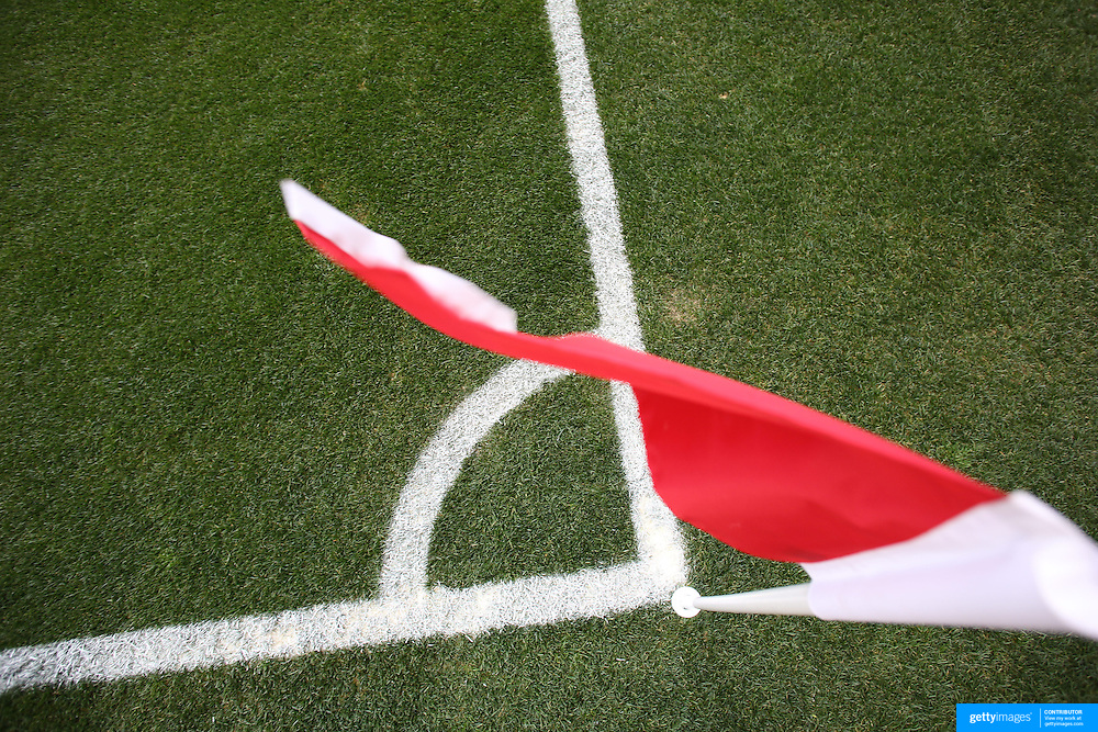 A generic image of a professional soccer corner flag and markings. Photo Tim Clayton