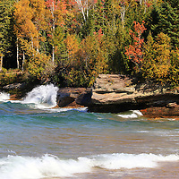 """""""Wonders of Autumn""""<br /> <br /> Enjoy the blue water, waves, rock formations and fall color along the rocky shores of Lake Superior in Michigan's Upper Peninsula!"""