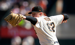 Oct 3, 2021; San Francisco, California, USA; San Francisco Giants starting pitcher Logan Webb (62) delivers a pitch against the San Diego Padres during the first inning at Oracle Park. Mandatory Credit: D. Ross Cameron-USA TODAY Sports