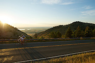 09 September 2013: Simon Hart of Boulder (left) and Cate Brown of Boulder (right) climb Old Stage Road during the bicycle ride from the front range city of Boulder to the mountain town of Ward via Old Stage Road and Left Hand Canyon in Boulder, CO. ©Brett Wilhelm