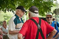 Duffy Dodge, Armando Bona and Don Mullally chat following the 70th Anniversary celebration of the Kiwanis Pool in St. Johnsbury Vermont.  Karen Bobotas / for Kiwanis International