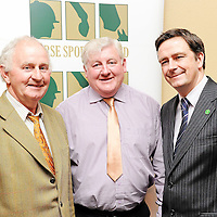 16 June 2011; At the launch of the Horse Sport Ireland National Showing Championship Series 2011 are, from left, Joe Lillis, Ennis Show, Ennis, Co. Clare, and Board Member, Southern Region, Irish Shows Association, John O'Hara, National President, Irish Shows Association and Damian McDonald, Chief Executive, Horse Sport Ireland. Grand Hotel, Moate, Co. Westmeath. Picture credit: Brendan Moran / SPORTSFILE *** NO REPRODUCTION FEE ***