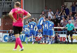 Rochdale players celebrate Reuben Noble-Lazarus' (hidden) goal to make it 2-0 - Mandatory byline: Joe Dent/JMP - 07966386802 - 08/08/2015 - FOOTBALL - Spotland Stadium -Rochdale,England - Rochdale AFC v Peterborough United - Sky Bet League One