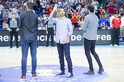 September 17, 2018 - Madrid, Spain - Albert Miralles, Juan Carlos Navarro and Alex Mumbru during the FIBA Basketball World Cup Qualifier match Spain against Latvia at Wizink Center in Madrid, Spain. September 17, 2018. (Credit Image: © Coolmedia/NurPhoto/ZUMA Press)