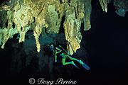 diver and stalactites in The Carwash cenote, Akumal, Yucatan Peninsula,  Mexico,   MR 117