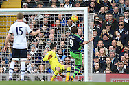 Alberto Paloschi of Swansea City (9) shoots and scores his sides 1st goal to make it 0-1. Barclays Premier league match, Tottenham Hotspur v Swansea city at White Hart Lane in London on Sunday 28th February 2016.<br /> pic by John Patrick Fletcher, Andrew Orchard sports photography.