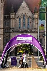© Licensed to London News Pictures. 08/10/2020. Manchester, UK. Students have been warned not to treat the virus lightly as it was claimed by a medic who spoke to the M.E.N. that a number of students have needed hospital care and some are in ICU. Photo credit: Kerry Elsworth/LNP