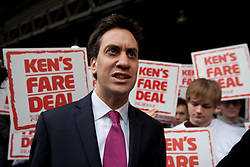 © licensed to London News Pictures. London, UK 14/03/2012. Ed Miliband is speaking to the media after launching Labour's London election pledges Ken Livingstone for this year's mayoral election, outside London Bridge Station, today (14/03/12). Photo credit: Tolga Akmen/LNP