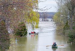 People use a small boat to move along a flooded street in the town of Rigaud, Quebec, Canada., west of Montreal, Monday, May 8, 2017, following flooding in the region. Photo by Graham Hughes /The Canadian Press/ABACAPRESS.COM