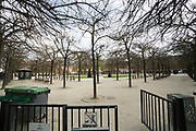 """March, 19th, 2020 - Paris, Ile-de-France, France: Empty Place des Vosges in the Paris Marais area, on the third day of a near total lockdown imposed in France. All journeys outside the home unless justified for essential professional or health reasons are outlawed. Anyone flouting the new regulations is punished with monetary fines. French police control of citizens and inspection of valid papers allowing citizens to travel. The most extreme measures so far in France to control the spread of the Coronavirus. Earlier in the week, President of France, Emmanuel Macron, said that citizens must stay at home from midday on Tuesday for at least 15 days. He said """"We are at war, a public health war, certainly but we are at war, against an invisible and elusive enemy"""". Nigel Dickinson"""