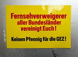 Germany, Freiburg - October 10, 2018.Street poster against GEZ, mandatory fees for Germany's state media - radio television - licence fees. (Credit Image: © Antonio Pisacreta/Ropi via ZUMA Press)
