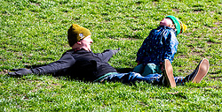 Pictured: Curtis Scott-Lewis (three and a half) was making the best of the sunny weather with his parents Chris and Victoria<br /><br />Inverleith Park in Edinburgh welcomed many pedestrians on a sunny but cold Easter Monday when Covid restrictions were eased in Scotland<br /><br />Ger Harley | EEm Date