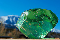 Green Raw Glass and Sleeping Ute Mountain. Image taken with a Nikon D3 camera and 24-70 mm f/2.8 lens (ISO 200, 70 mm, f/22, 1/250 sec). Raw image processed with Capture One Pro, Focus Magic, and Photoshop CC.