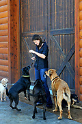 FOR UNIVERSITY CITY MAGAZINE - Krissie Newman, 31, at home with her rescued dogs. Annie (far left) is a rescued dog but does not belong to Krissie.