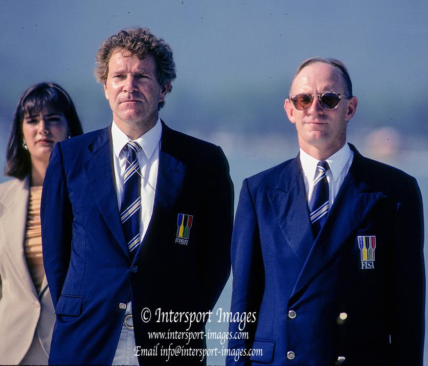 Barcelona Olympics 1992 - Lake Banyoles, SPAIN,  Left Dennis OSWALD and John BOULTBEE, Photo: Peter Spurrier.       {Mandatory Credit: © Peter Spurrier/Intersport Images]