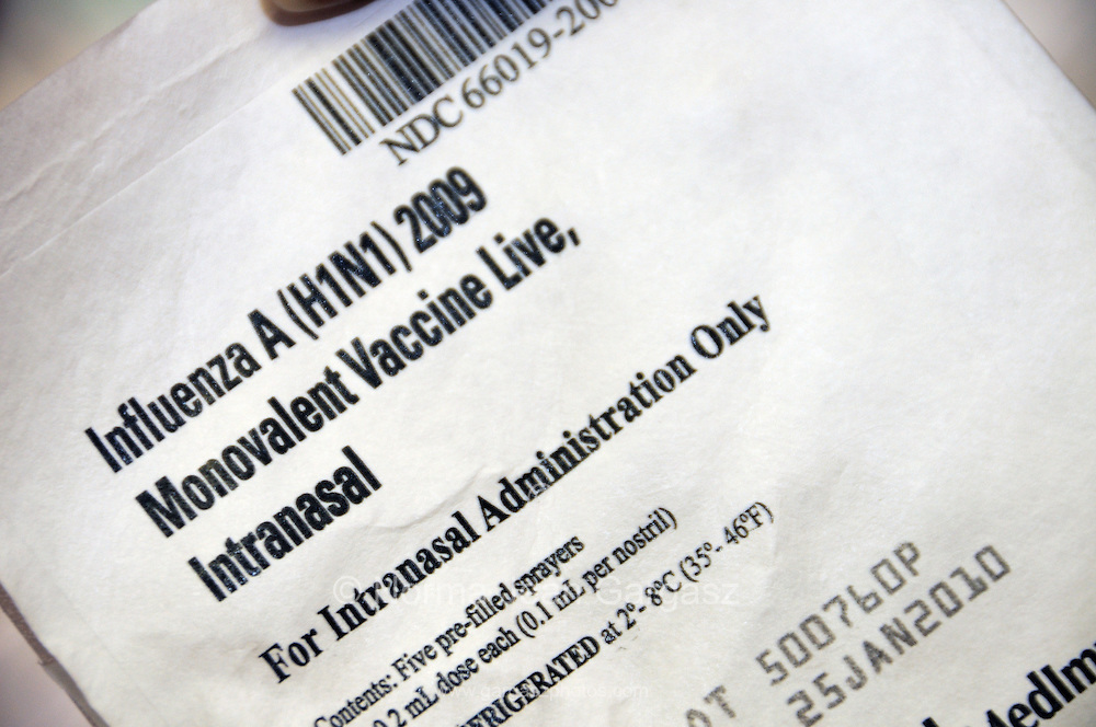 An intranasal vaccination for the 2009 H1N1 influenza, also known as the Swine Flu, at the Pima County Health Department, Tucson, Arizona, USA.
