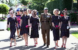 The Tootsie Rollers arrive during day four of Royal Ascot at Ascot Racecourse.