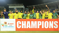 August 12, 2018 - Colombo, Sri Lanka - South African cricket team pose with the winning trophy after defeating Sri Lanka by 3-2 in their ODI series after the 5th and final One Day International cricket match between Sri Lanka and South Africa at R Premadasa International cricket ground, Colombo, Sri Lanka on Sunday 12 August 2018  (Credit Image: © Tharaka Basnayaka/NurPhoto via ZUMA Press)