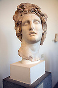 Head of God Helios, middle Hellenistic period, Archaeological museum, Rhodes, Greece