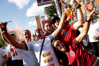 Thousands of ootball fans  at Wembley Stadium  for the  england v denmark  semifinal game of UEFA Euro 2021
