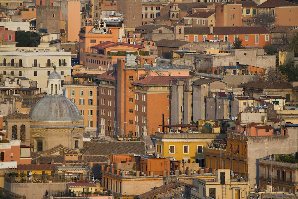 View of Rome at sunset from the National Monument to Victor Emanuel II.