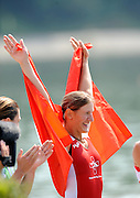Ottensheim, AUSTRIA.  A  Final,  SUI LW1X, Gold Medallist,  Pamela WEISSHAUPT acknowledges her fan  at the 2008 FISA Senior and Junior Rowing Championships,  Linz/Ottensheim. Sunday,  27/07/2008.  [Mandatory Credit: Peter SPURRIER, Intersport Images] Rowing Course: Linz/ Ottensheim, Austria