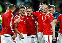 Wales players celebrating the victory. esultanza vittoria<br /> Lille 01-07-2016 Stade Pierre Mauroy Football Euro2016 Wales - Belgium / Galles - Belgio <br /> Quarter-finals. Foto Matteo Ciambelli / Insidefoto