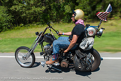 """Valarde Gonzales out with fellow coast-to-coast """"Stampeders"""" for a Saturday morning ride during Smokeout 16. Rockingham, NC. USA. June 20, 2015.  Photography ©2015 Michael Lichter."""