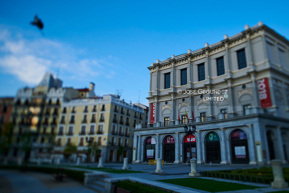 Royal Theatre during the confinement due to the national emergency caused by Covid-19 on April 12, 2020 in Madrid, Spain  <br /> The day before workers on Spain they return theirs non-essential works