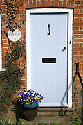 House blue front door with pansies in pot on doorstep