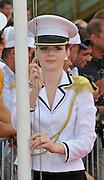 Racice, CZECH REPUBLIC.  Presentation Party, 'Flag Raiser'.   2010 FISA Junior World Rowing Championships. Sunday,  08/08/2010.  [Mandatory Credit Peter Spurrier/ Intersport Images]