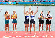 Eton Dorney, Windsor, Great Britain,..2012 London Olympic Regatta, Dorney Lake. Eton Rowing Centre, Berkshire[ Rowing]...Description;   Women's Pair, medals presentation  .Gold Medalist and Centre. GBR W2- Helen GLOVER (b) , Heather STANNING (s).Silver Medalist and Left. AUS.W2- Kate HORNSEY (b) , Sarah TAIT (s).Bronze Medalist and right.  NZL W2- Juliette HAIGH (b) , Rebecca SCOWN (s)  Dorney Lake. 12:25:19  Wednesday  01/08/2012.  [Mandatory Credit: Peter Spurrier/Intersport Images].Dorney Lake, Eton, Great Britain...Venue, Rowing, 2012 London Olympic Regatta...