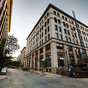 Exterior renovation progress of the former Folger's Coffee Plant in downtown Kansas City, Missouri along Eighth Street and Broadway in the downtown area. Build LLC is converting the old coffee plant into residential loft apartments.
