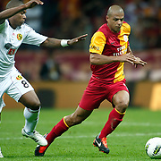 Galatasaray's Felipe MELO (R) and Eskisehirspor's Vitor Hugo Gomes PASSOS (L) during their Turkish Super League soccer match Galatasaray between Eskisehirspor at the TT Arena at Seyrantepe in Istanbul Turkey on Monday, 26 September 2011. Photo by TURKPIX