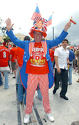 Athens, Greece - Wednesday, May 23, 2007: Liverpool's fan celebrating in Syntagma Square ahead of the UEFA Champions League Final against AC Milan. (Pic by Jason Roberts/Propaganda)