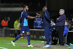 QPR's Matt Phillips shakes hands with QPR's Manager Chris Ramsey after being substituted - Photo mandatory by-line: Harry Trump/JMP - Mobile: 07966 386802 - 11/08/15 - SPORT - FOOTBALL - Capital One Cup - First Round - Yeovil Town v QPR - Huish Park, Yeovil, England.