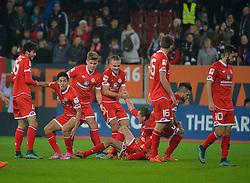 31.10.2015, WWK Arena, Augsburg, GER, 1. FBL, FC Augsburg vs 1. FSV Mainz 05, 11. Runde, im Bild Jubel beim FSV Mainz 05 zum Ausgleich in der Nachspielzeit unter anderem mit Suat Serder #45 (FSV Mainz 05), Yoshinori Muto #9 (FSV Mainz 05), Pierre Bengtsson #7 (FSV Mainz 05), Stefan Bell #16 (FSV Mainz 05) und Yunus Malli #10 (FSV Mainz 05) // during the German Bundesliga 11th round match between FC Augsburg and 1. FSV Mainz 05 at the WWK Arena in Augsburg, Germany on 2015/10/31. EXPA Pictures © 2015, PhotoCredit: EXPA/ Eibner-Pressefoto/ Hiermayer<br /> <br /> *****ATTENTION - OUT of GER*****
