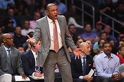 October 19, 2018 - Los Angeles, CA, U.S. - LOS ANGELES, CA - OCTOBER 19: Los Angeles Clippers head coach Doc Rivers yells out instructions during a NBA game between the Oklahoma City Thunder and the Los Angeles Clippers on October 19, 2018 at STAPLES Center in Los Angeles, CA. (Credit Image: © Brian Rothmuller/Icon SMI via ZUMA Press)