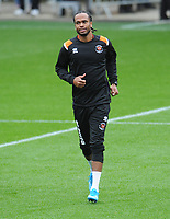 Blackpool's Nathan Delfouneso during the pre-match warm-up <br /> <br /> Photographer Kevin Barnes/CameraSport<br /> <br /> The EFL Sky Bet Championship - Blackpool v Peterborough United - Saturday 2nd November 2019 - Bloomfield Road - Blackpool<br /> <br /> World Copyright © 2019 CameraSport. All rights reserved. 43 Linden Ave. Countesthorpe. Leicester. England. LE8 5PG - Tel: +44 (0) 116 277 4147 - admin@camerasport.com - www.camerasport.com