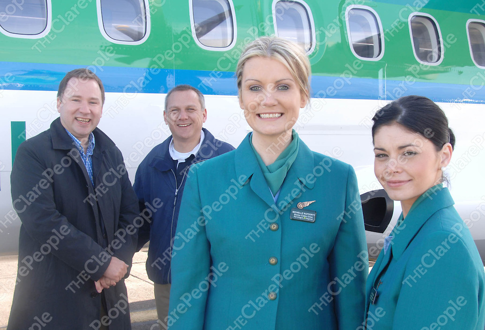 Sunday March 28th: Pictured at the inaugural Aer Lingus Regional flight, operated by Aer Arann, is Aer Lingus Chief Commercial Officer Stephen Kavanagh, and Aer Arann Chief Executive Paul Schütz with. Aer Arann cabin crew Michelle Rafferty and Kitty Dillon . <br /> Photo David O'shea (No Photo Fee)<br />  Further info Gina Kelly PR manager Aer Arann Phone 0867805451 email gina.kelly@aerarann.com<br /> <br /> The Aer Lingus Regional service is a franchise agreement between Ireland's regional airline Aer Arann and the national carrier Aer Lingus which will operate 12 routes from Dublin and Cork serving the UK and France.
