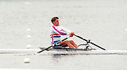 Tampere Kaukajaervi,  FINLAND.   Start of the Men's Lightweight Single Sculls, GBR LM1X. Peter HAINING, competing at the 1995 World Rowing Championships - Lake Tampere, 08.1995<br /> <br /> [Mandatory Credit; Peter Spurrier/Intersport-images] Re-Edited and file ref No. updated, 16th January 2021.