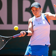 PARIS, FRANCE June 1.  Ashleigh Barty of Australia in action against Bernarda Pera of the United States on Court Philippe-Chatrier during the first round of the singles competition at the 2021 French Open Tennis Tournament at Roland Garros on June 1st 2021 in Paris, France. (Photo by Tim Clayton/Corbis via Getty Images)