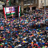 Sympatisants of opposition party Fidesz gathered on Astoria square to peacefully celebrate together the anniversary of the historic events of 1956.