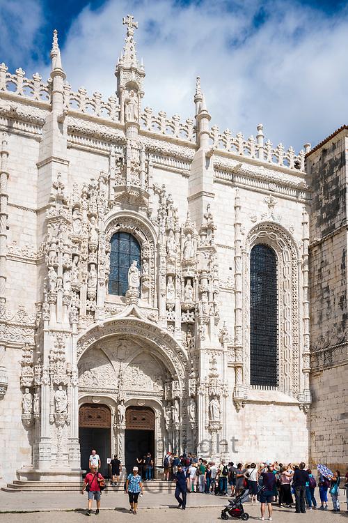 Tourists queue at Church of Santa Maria, Monastery of Jeronimos - Mosteiro  dos Jeronimos in Lisbon, Portugal